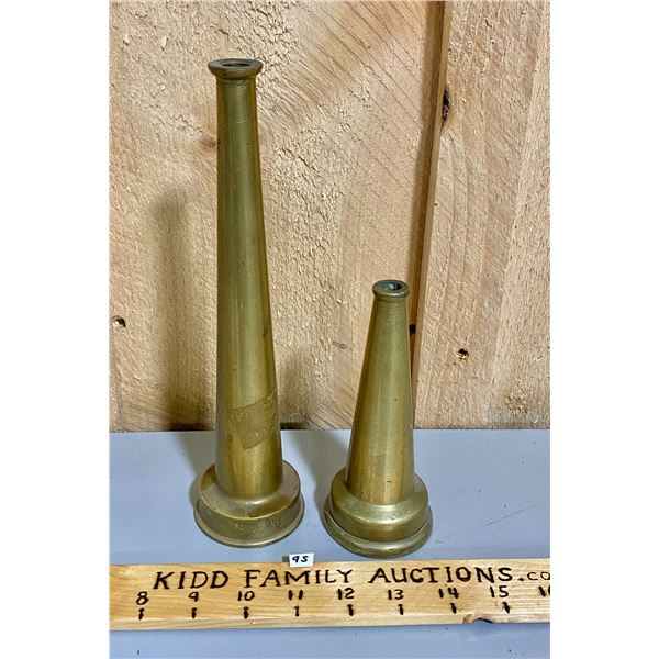 LOT OF 2 BRASS FIRE NOZZLES