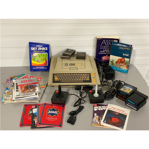 VINTAGE ATARI 400 GAMING SYSTEM W/ MANUALS, GAMES, BOOKS, CONTROLLERS
