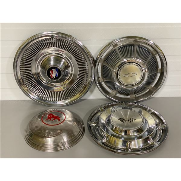 LOT OF 4 MISC HUBCAPS INCLUDING MERCURY MONARCH