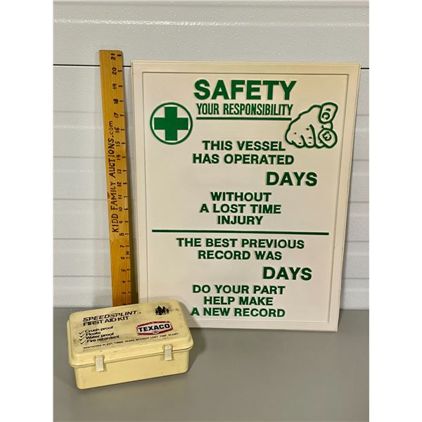 TEXACO FIRST AID KIT - W/ CONTENTS & SAFETY SIGN