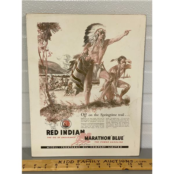 MOUNTED RED INDIAN MOTOR OIL AD