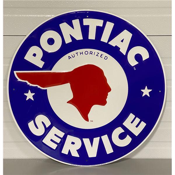 """PONTIAC SERVICE SSP REPRO SIGN - 23.5"""" DIAMETER"""