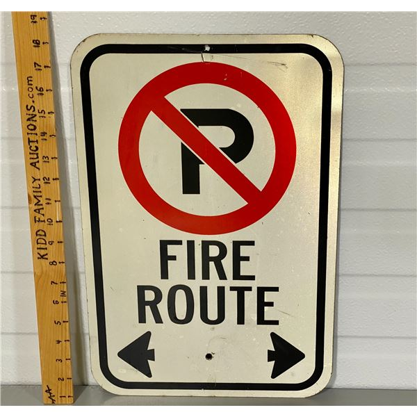 NO PARKING FIRE ROUTE ROAD SIGN
