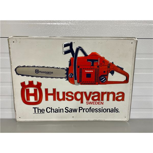 "HUSQVARNA CHAINSAWS EMBOSSED SST SIGN - 20"" X 28"""