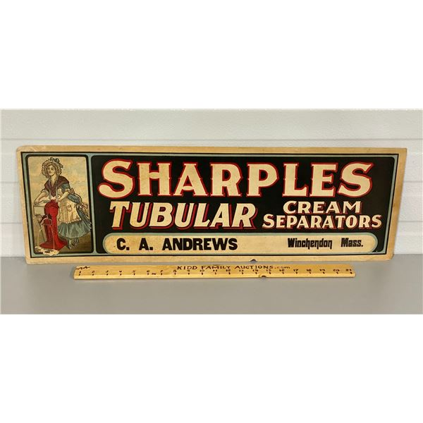SHARPLES CREAM SEPARATORS PAPER SIGN