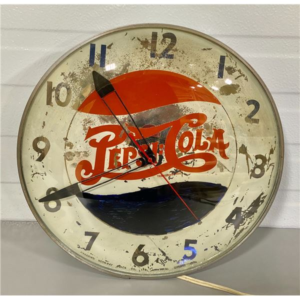 PEPSI-COLA ILLUMINATING CLOCK - WORKING