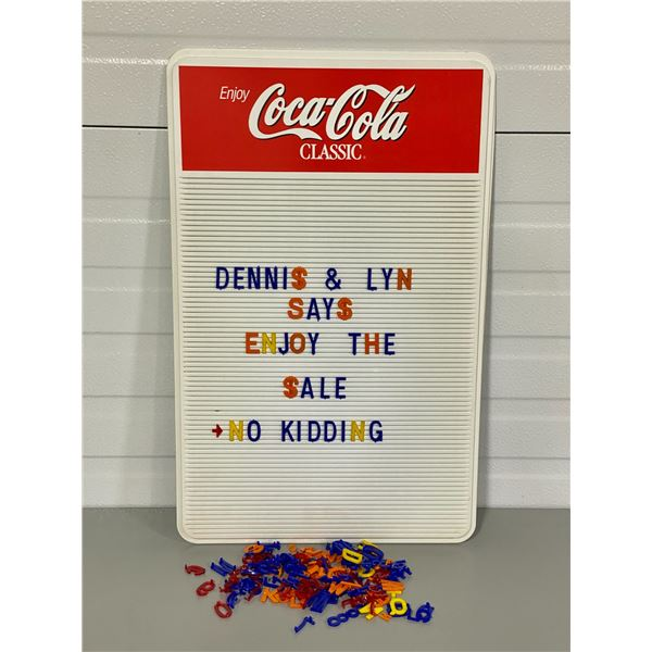 "COCA-COLA ADVERTISING BOARD W/ LETTERS - 14"" X 19"""
