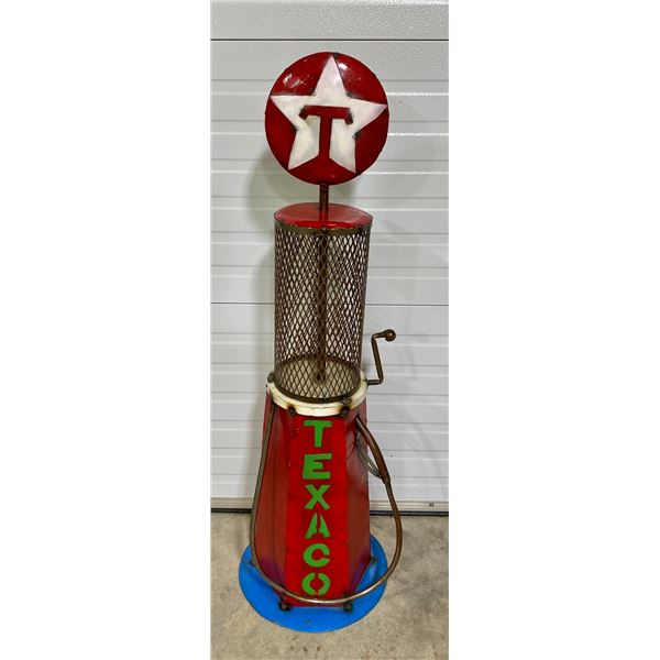 4' TALL GAS STATION METAL ART - TEXACO CLEAR VISION PUMP COPY