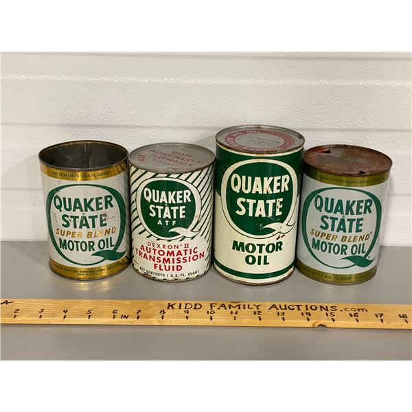 LOT OF 4 QUAKER STATE OIL CAN - 1 QT SZ