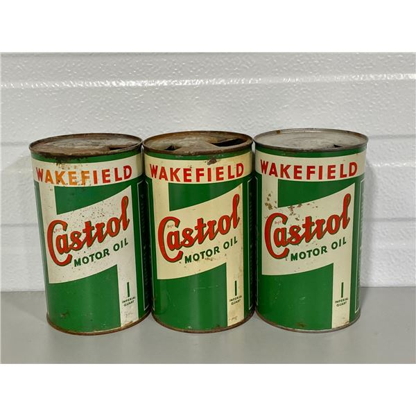LOT OF 3 WAKEFIELD CASTROL OIL CANS
