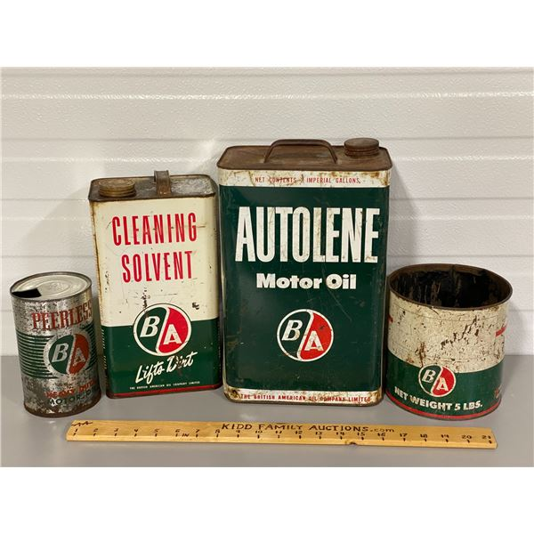 LOT OF 4 BA CANS - SOLVENT, OIL GREASE
