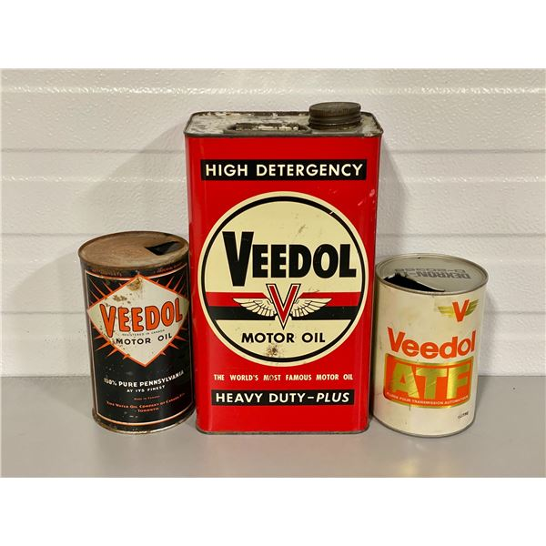 LOT OF 3 VEEDOL MOTOR OIL CANS
