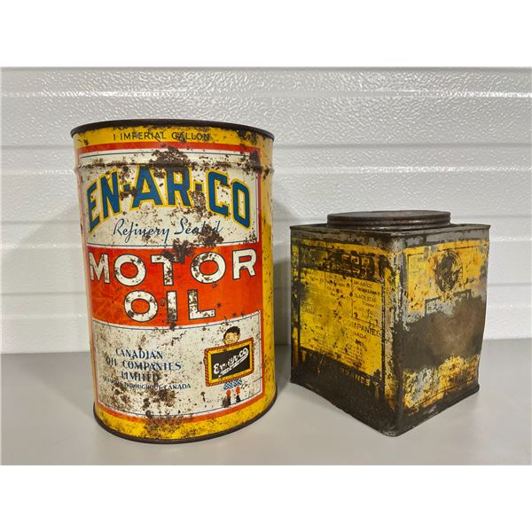 LOT OF 2 EN-AR-CO CANS - 1 GAL OIL & SQ GREASE TIN