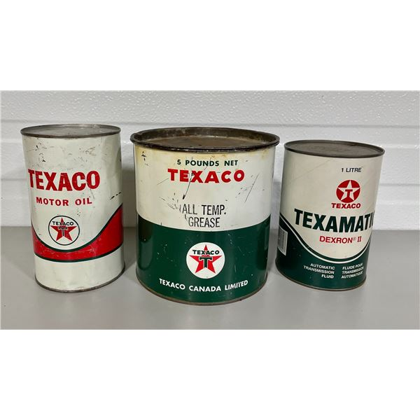 LOT OF 3 TEXACO CAN - OIL / GREASE W/ CONTENTS