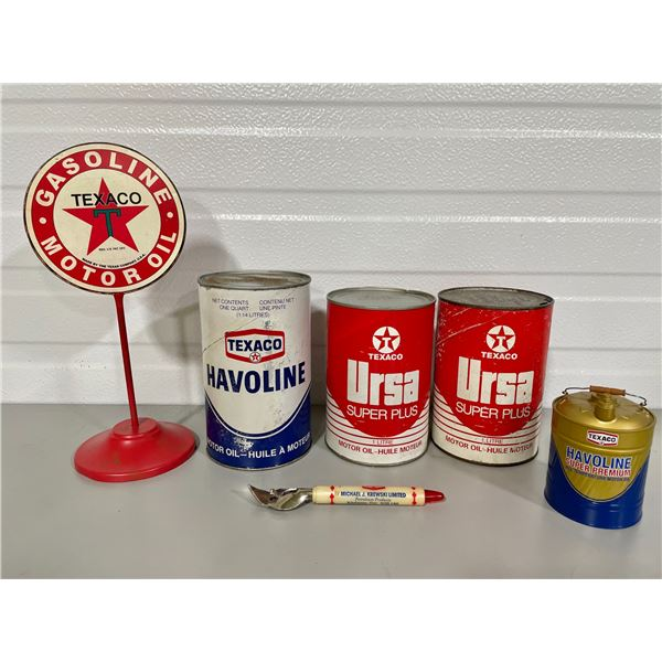 TEXACO COLLECTIBLES LOT W/ WRAP TINS, OPENER, COUNTER TOP DISPLAY SIGN