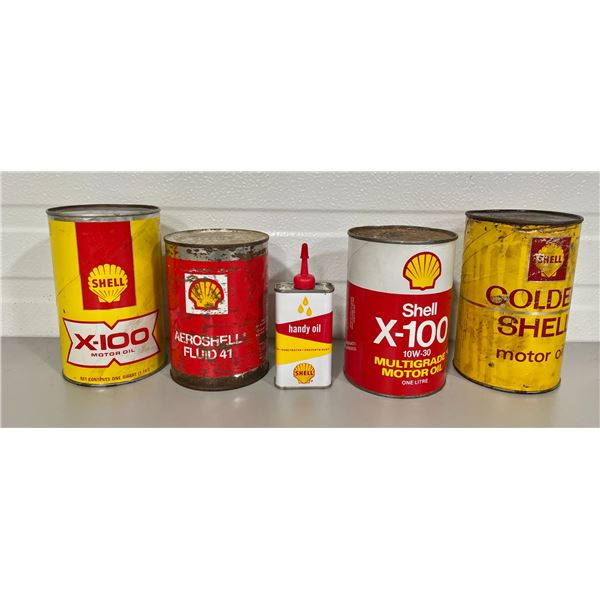 LOT OF 5 SHELL CANS - WRAP OIL, MINI OILER, AREOSHELL