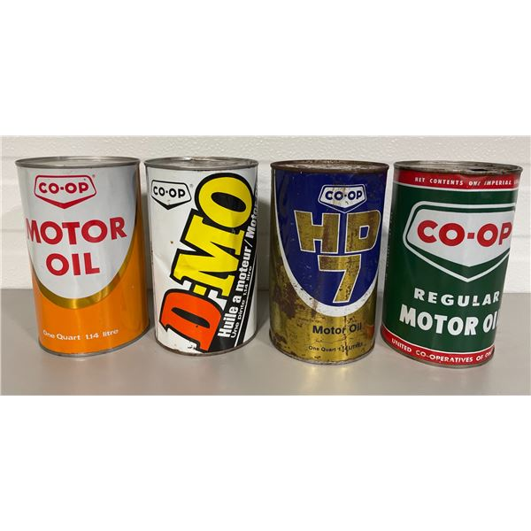 LOT OF 4 CO-OP OIL CANS - 1 QT / LITRE SZ