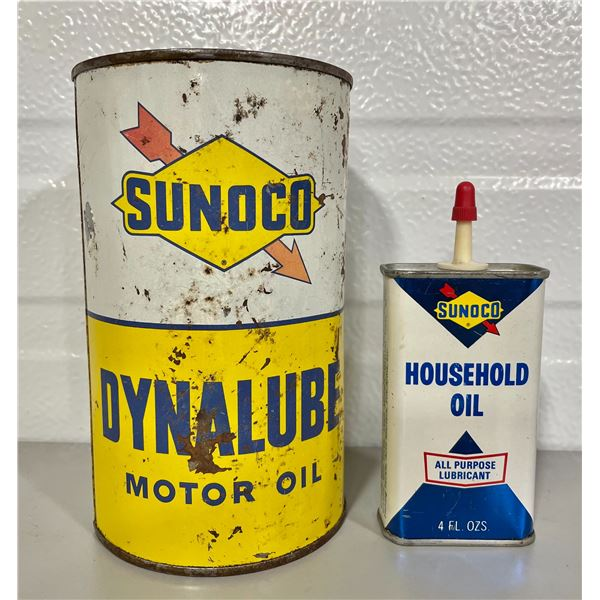 LOT OF 2 - SUNOCO OIL CAN & MINI OILER - SOME CONTENTS