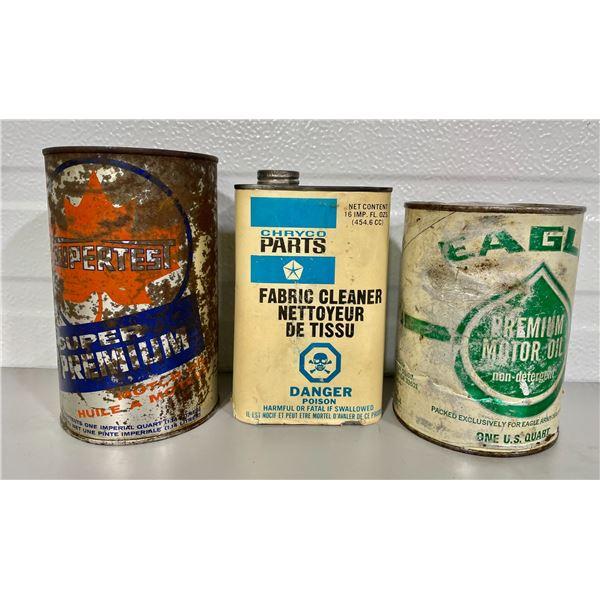 LOT OF 3 MISC CANS - SUPERTEST OIL CAN, CRYCO FABIC CLEANER & EAGLE WRAP TIN - SOME CONTENTS