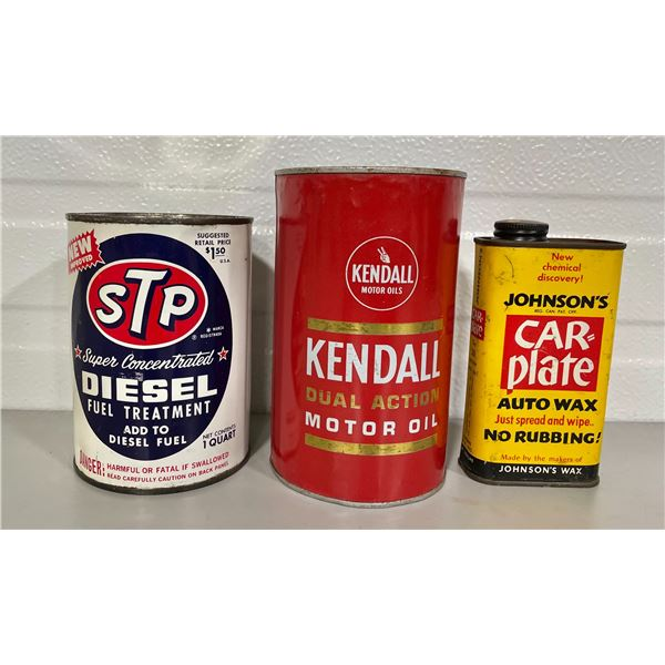 LOT OF 3 MISC CANS - KENDALL 1 QT, STP & JOHNSON'S WAX - SOME CONTENTS
