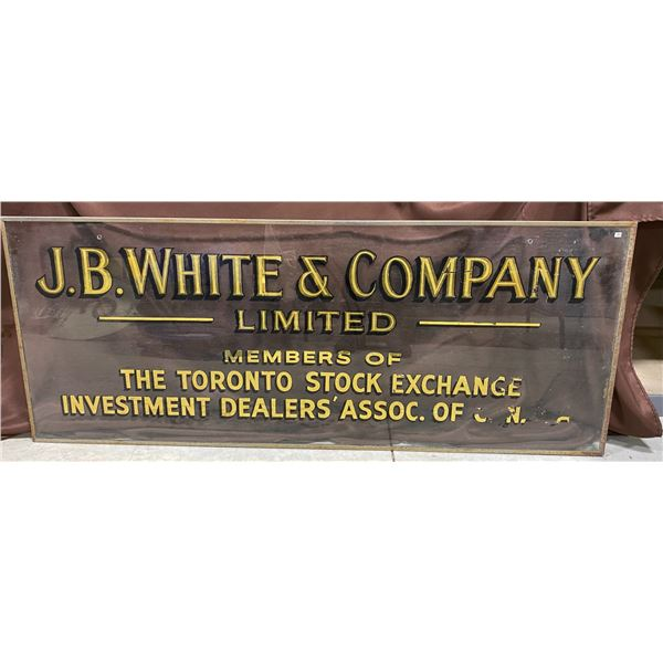VINTAGE GLASS ADVERTISING SIGN - JB WHITE & CO - 2' X 4'