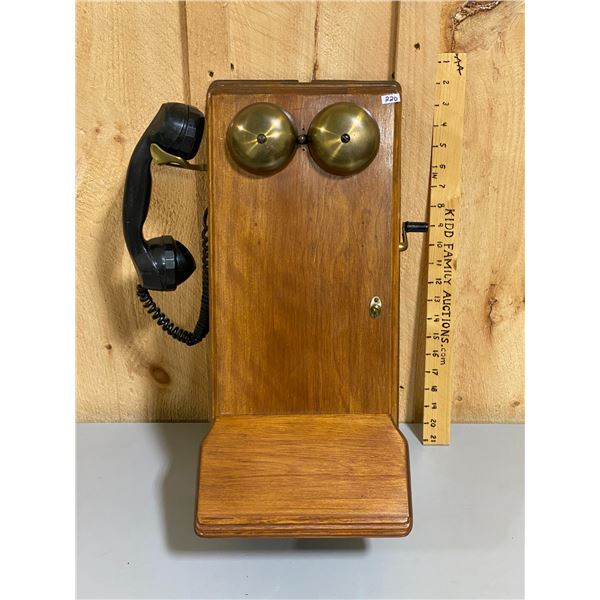 ANTIQUE WOODEN WALL PHONE