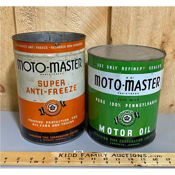 LOT OF 2 - MOTO-MASTER ANTI-FREEZE & OIL CANS - 1 GAL SZ