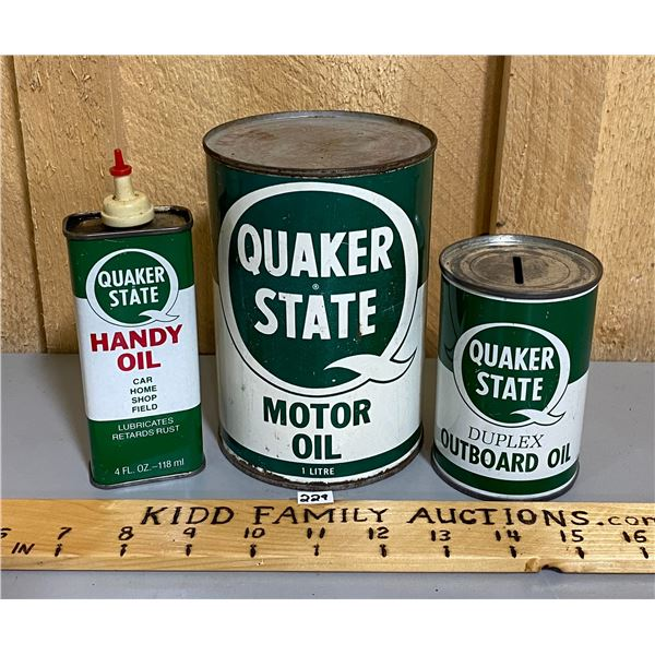 LOT OF 3 - QUAKER STATE - 1 QT FULL, MINI OILER