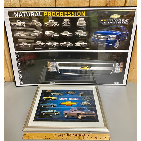 "LOT OF 2 FRAMED CHEVY TRUCKS POSTERS - 27"" X 40"""