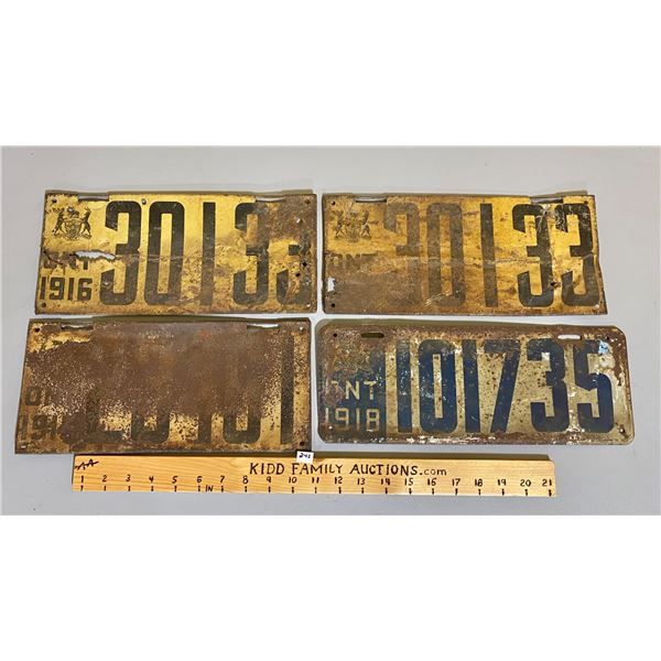 LOT OF 4 - ONTARIO LICENCE PLATES
