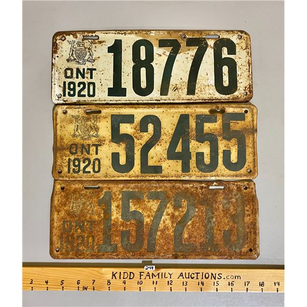 LOT OF 3 - 1920 ONTARIO LICENCE PLATES