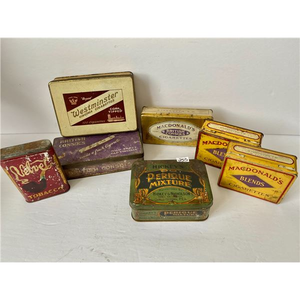 LOT OF 7 MISC TOBACCO TINS