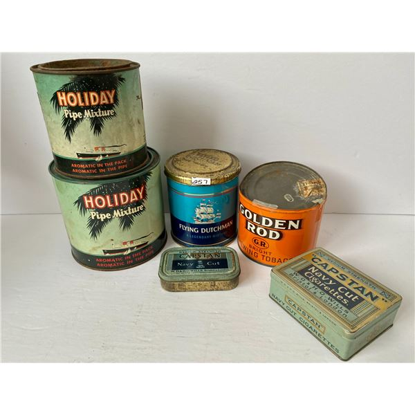 LOT OF 6 MISC TOBACCO TINS