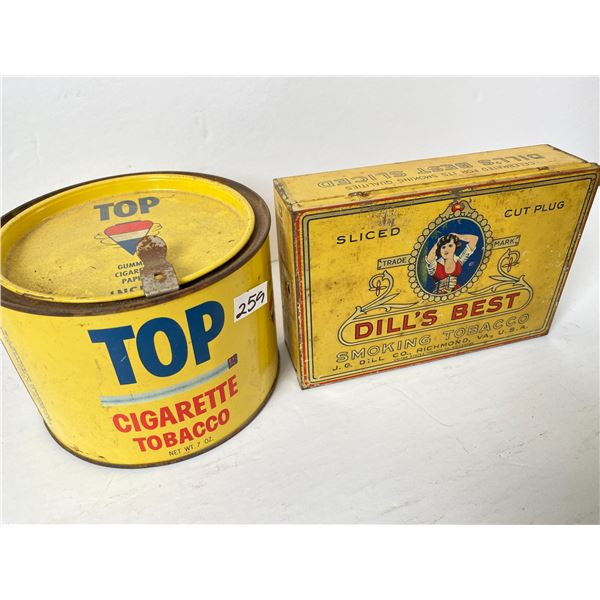 LOT OF 2  TOBACCO TINS - TOPS & DILL'S