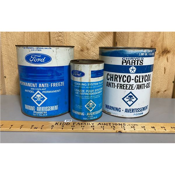 LOT OF 3 - FORD ANTI-FREEZE & CHRYCO ANTI-FREEZE