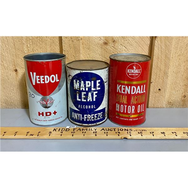 LOT OF 3 CANS - VEEDOL & KENDALL - FULL & MAPLE LEAF ANTI-FREEZE - FULL.