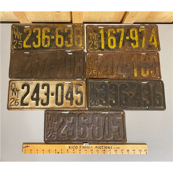 LOT OF 7 1925, 1926 ONTARIO LICENCE PLATES