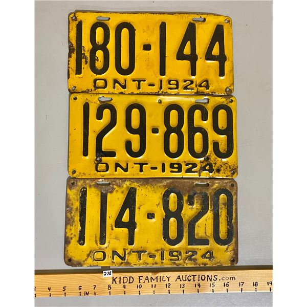 LOT OF 3 -1924 ONTARIO LICENCE PLATES