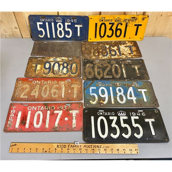 LOT OF 10 -  ONTARIO TRAILER PLATES W/ RARE 1930's & 1945