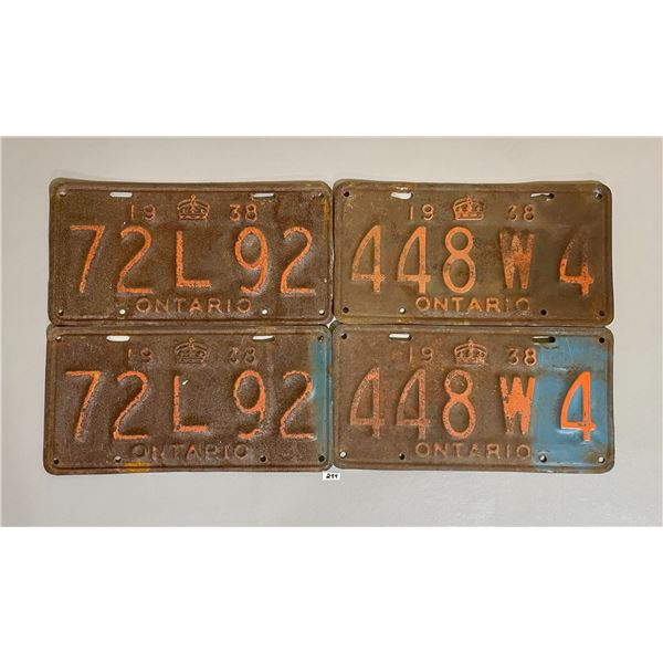 LOT OF 4 - 1938 ONTARIO LICENSE PLATES