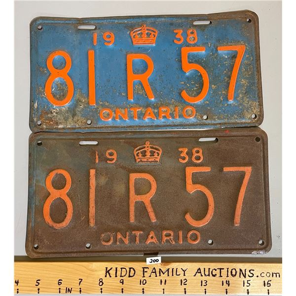 PAIR OF 1938 ONTARIO LICENSE PLATES