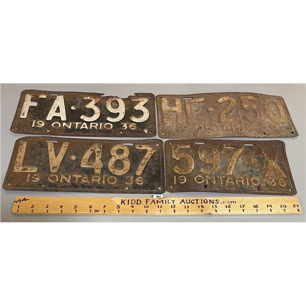 LOT OF 4 - 1936 ONTARIO LICENSE PLATES