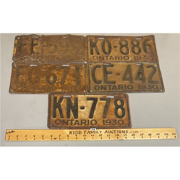LOT OF 5 - 1930 ONTARIO LICENSE PLATES