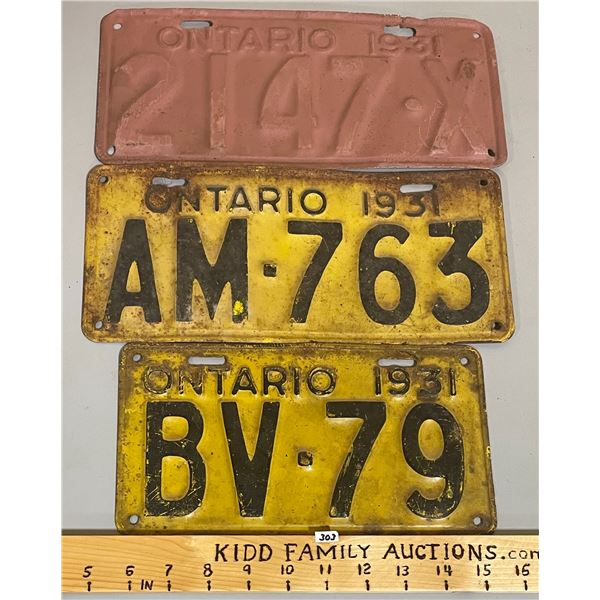 LOT OF 3 - 1931 ONTARIO LICENSE PLATES