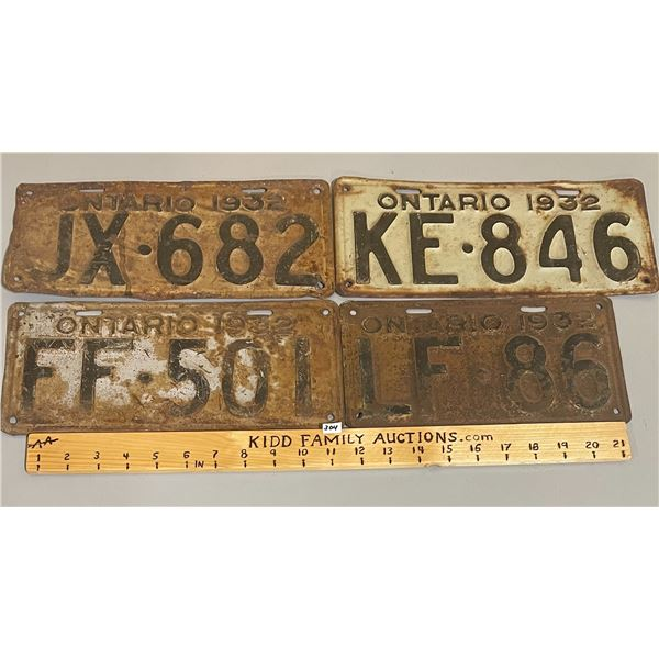 LOT OF 4 - 1932 ONTARIO LICENSE PLATES