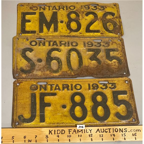 LOT OF 3 - 1933 ONTARIO LICENSE PLATES