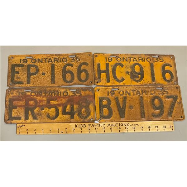 LOT OF 4 - 1935 ONTARIO LICENSE PLATES