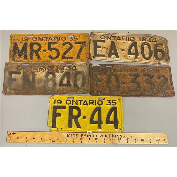 LOT OF 5 - ONTARIO LICENSE PLATES 1934, 1935