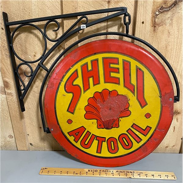 SHELL AUTO OIL DSP SIGN ON HANGING BRACKET
