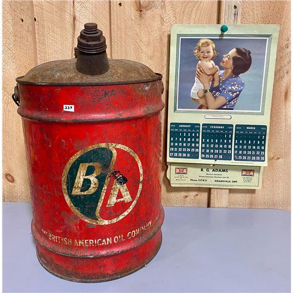 BA FUEL CAN - 5 GAL & 1946 CALENDAR